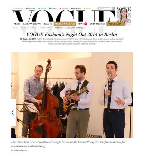 jazzband auf der vogue fashion's night